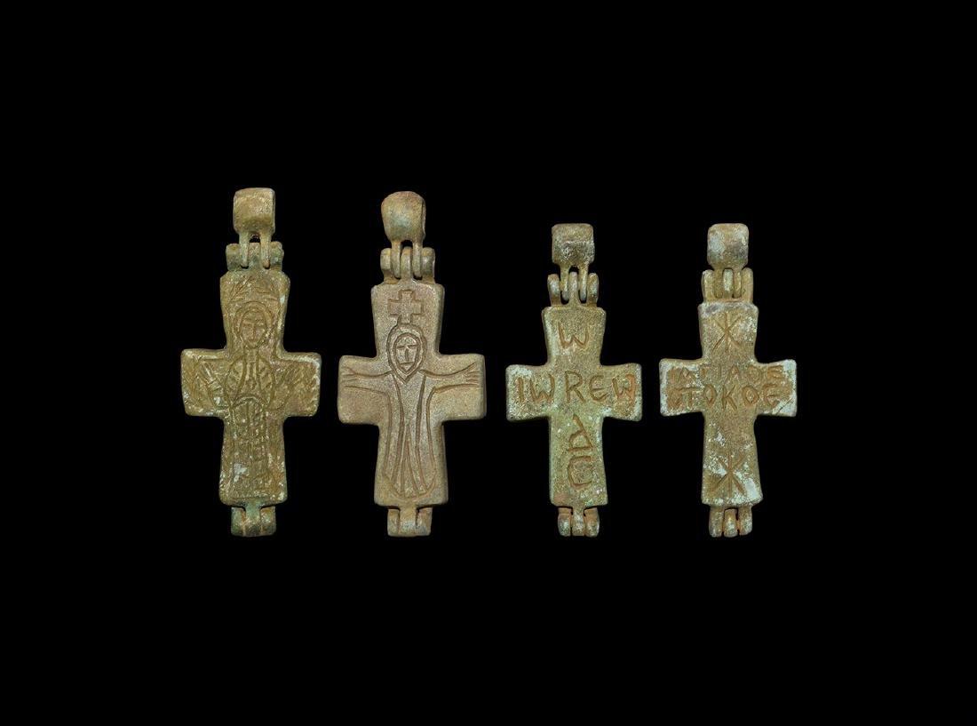 Byzantine Reliquary Cross Pendant Group