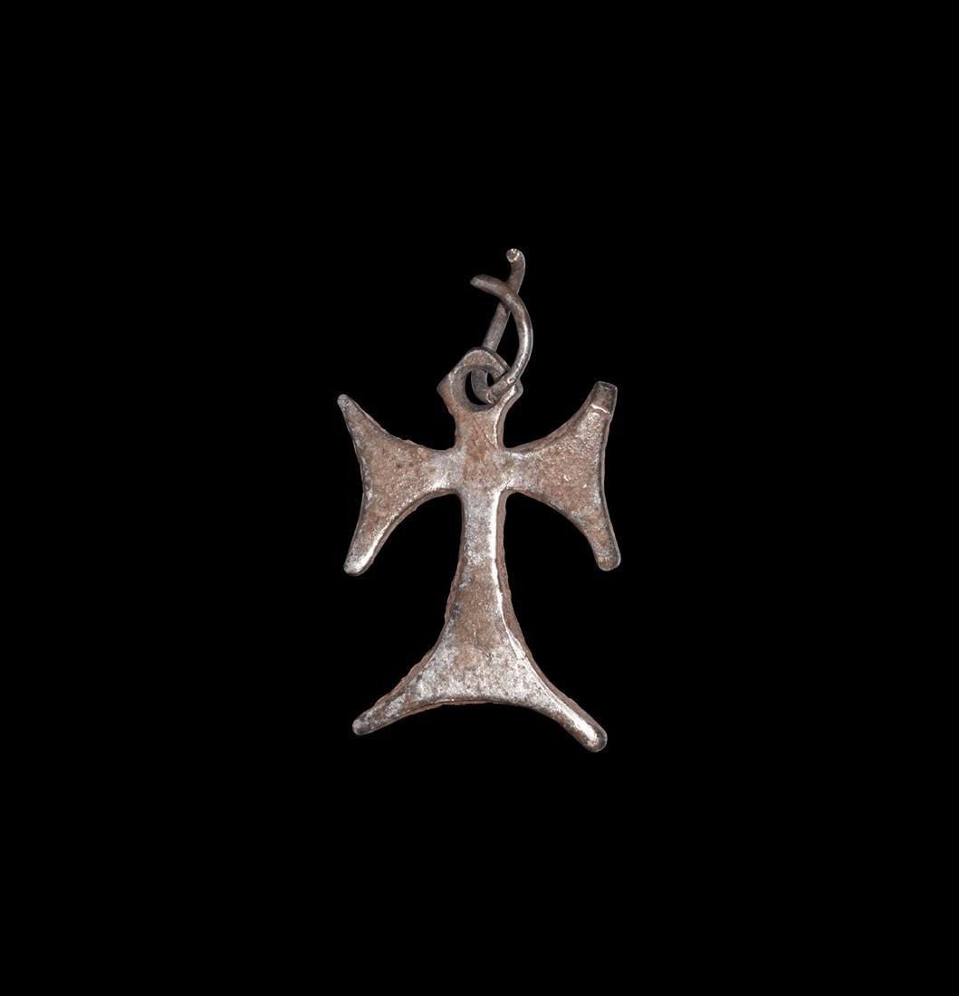 Medieval Silver Tau Cross Pendant