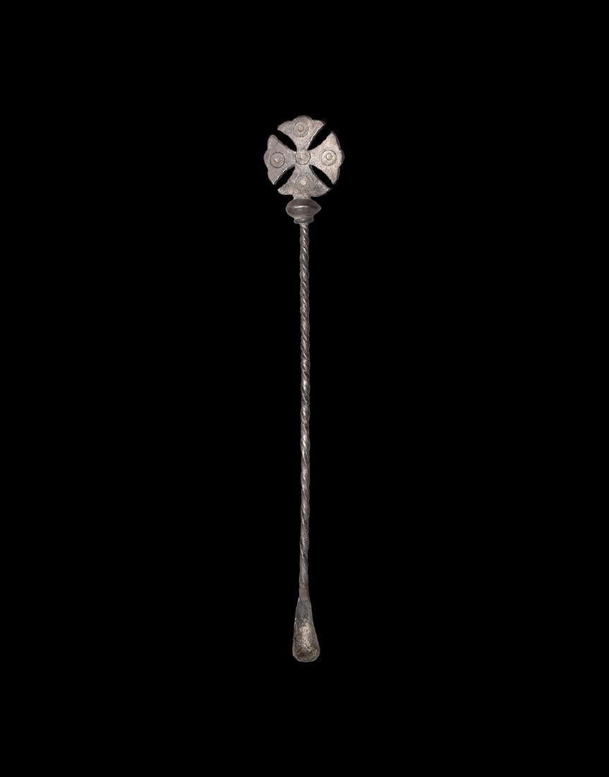 Byzantine Silver Spoon with Cross Finial