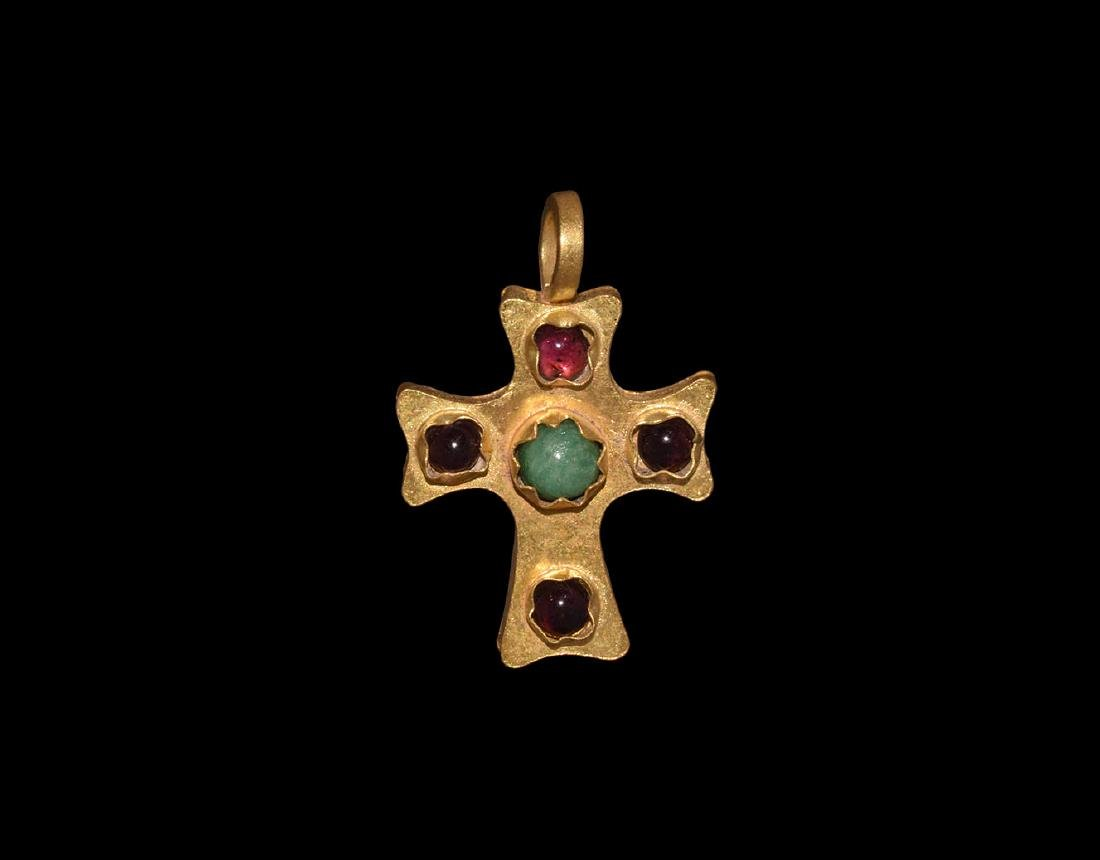 Gold Cross Pendant with Garnets and Emerald