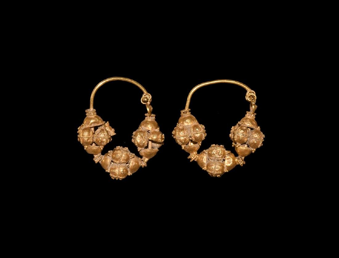 Fatimid Gold Earrings with Three Bead Design