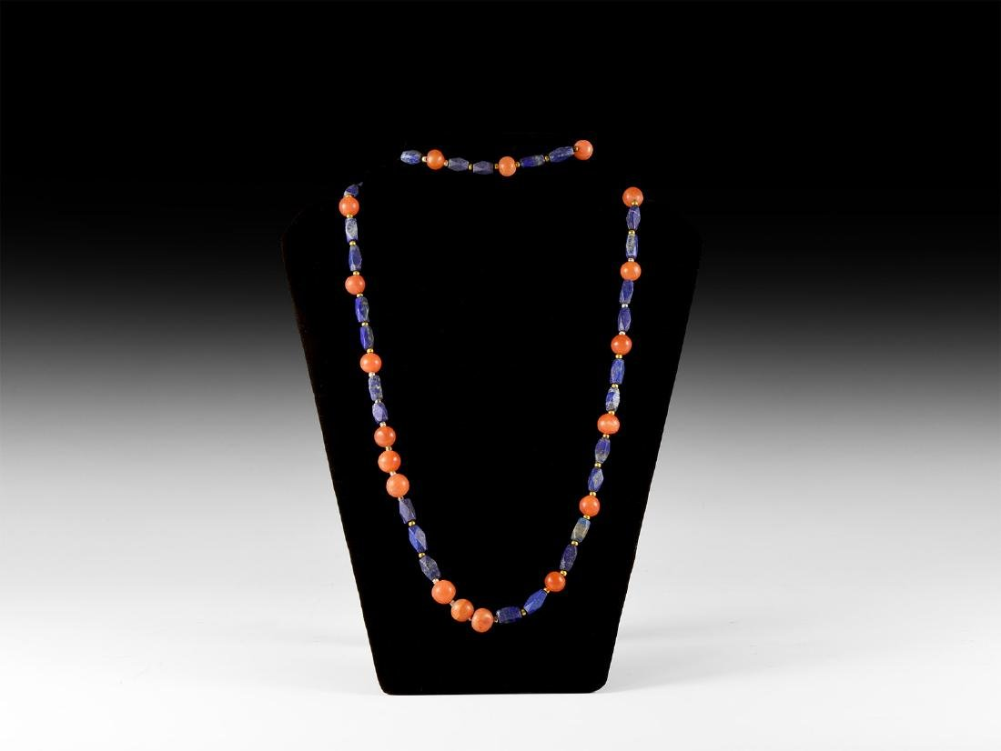 Carnelian and Lapis Lazuli Bead Necklace String