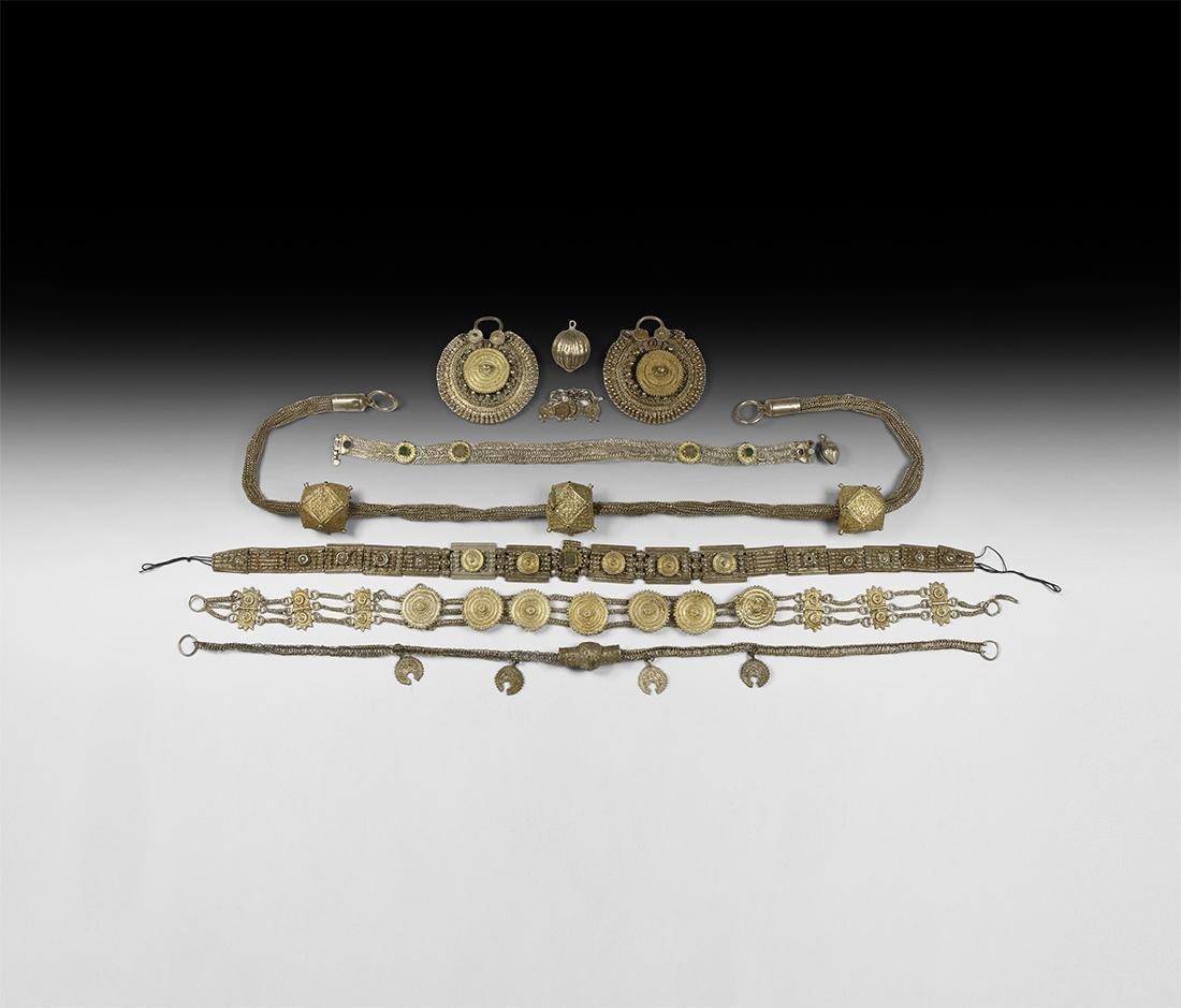 Islamic Ottoman Gilt Silver Ornament Group