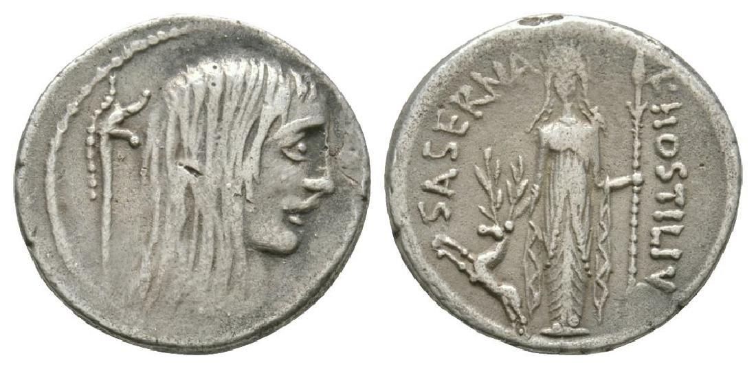 L Hostilius Saserna - Gallic Captive Denarius
