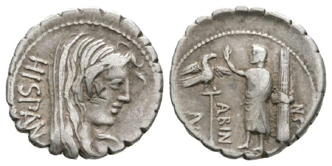 A Postumius A f Sn Albinus - Hispania Denarius