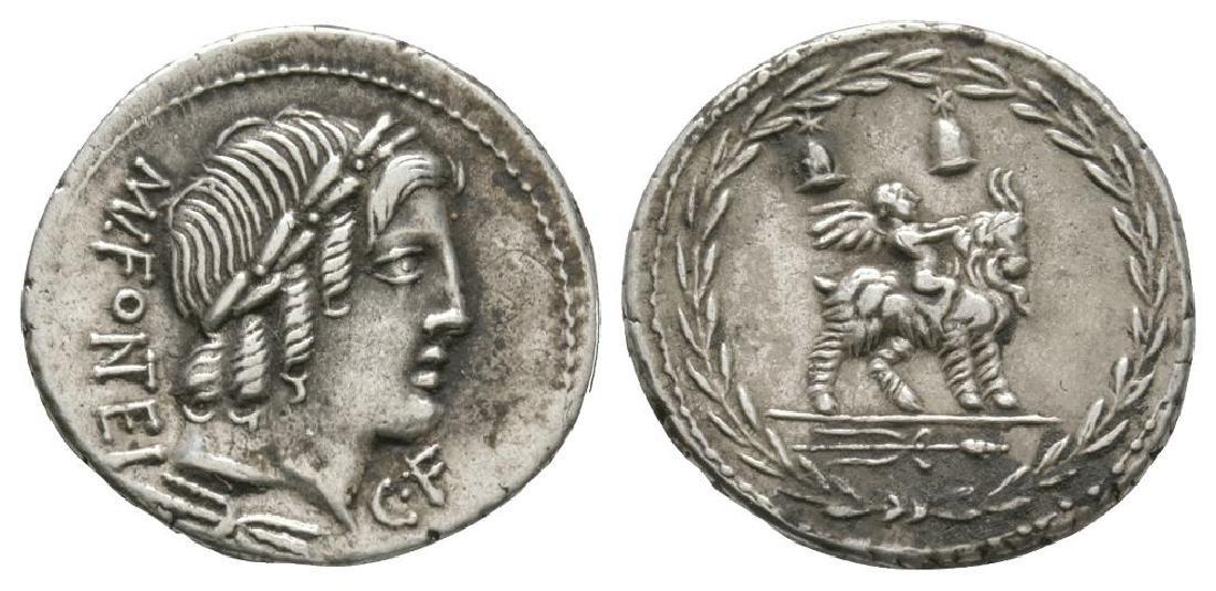 Mn Fonteius C f - Cupid on Goat Denarius