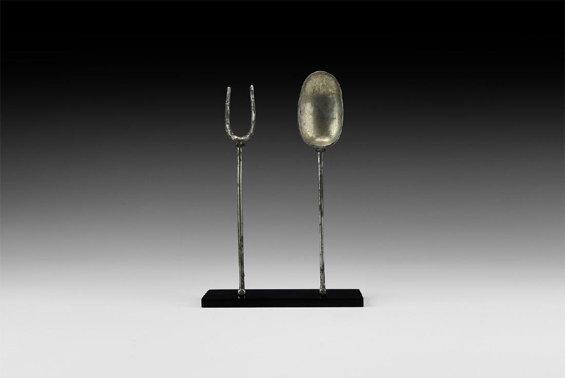 Roman Silver Fork and Spoon