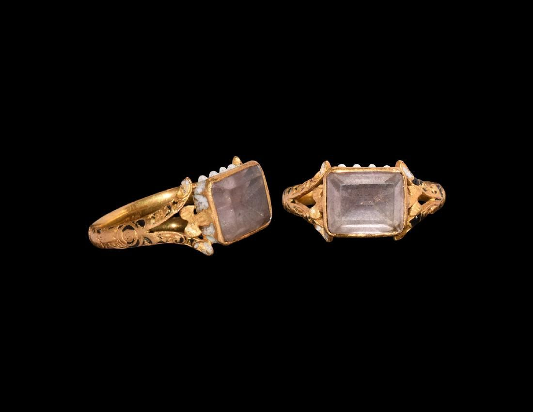 Post Medieval Enamelled Ring with Amethyst