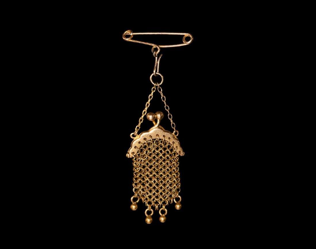 Victorian Gold Miniature Purse Brooch