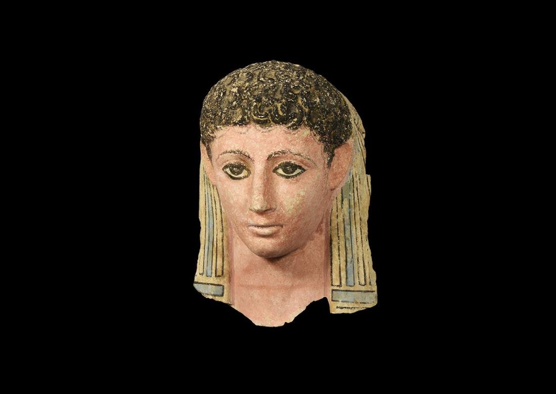 Stucco Polychrome Face Mask of a Young Male