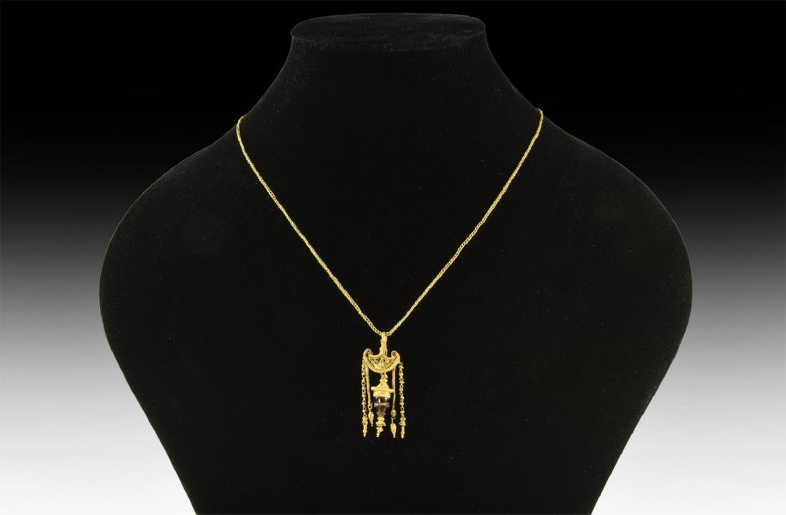 Greek Gold Necklace with Elaborate Pendant
