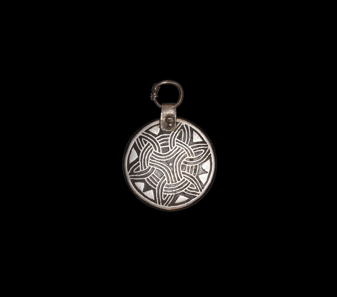 Viking Silver Inlaid Pendant
