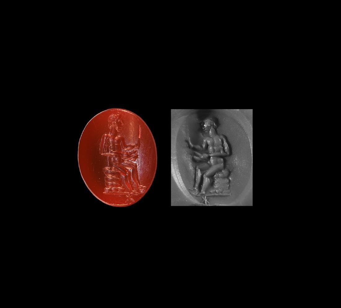 Intaglio Gemstone with Seated Figure