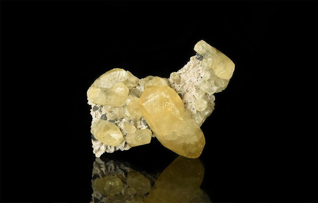 Calcite with Sphalerite on Dolomite Mineral Specimen
