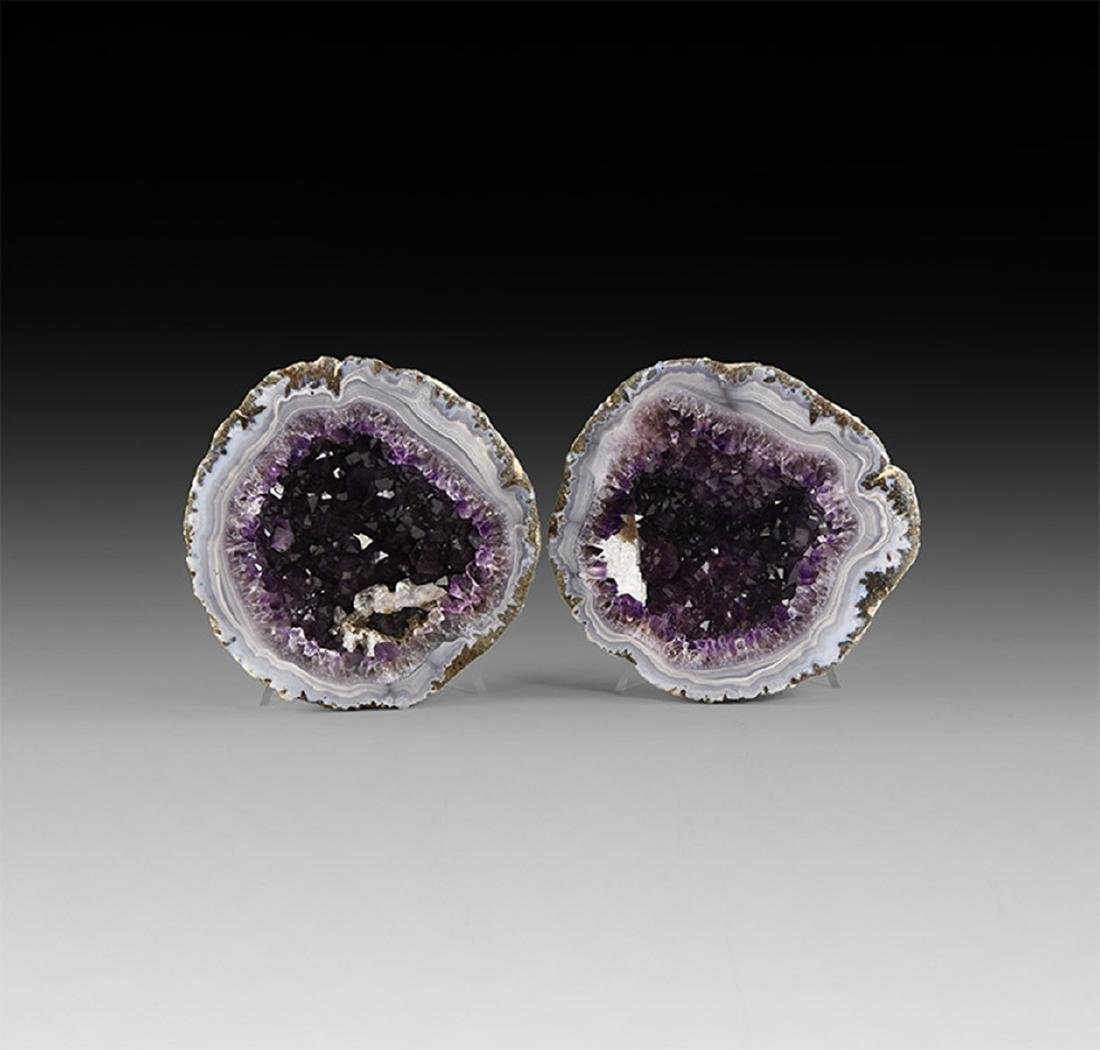 Polished Amethyst Geode Pair
