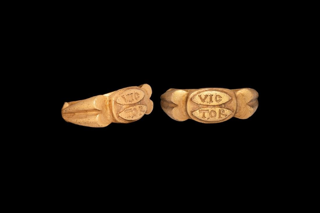 Roman Gold Signet Ring with VICTOR