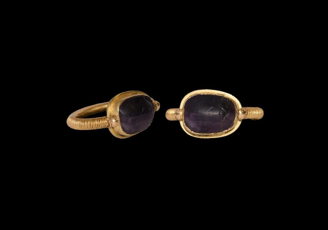 Egyptian Amethyst Scarab in Gold Ring