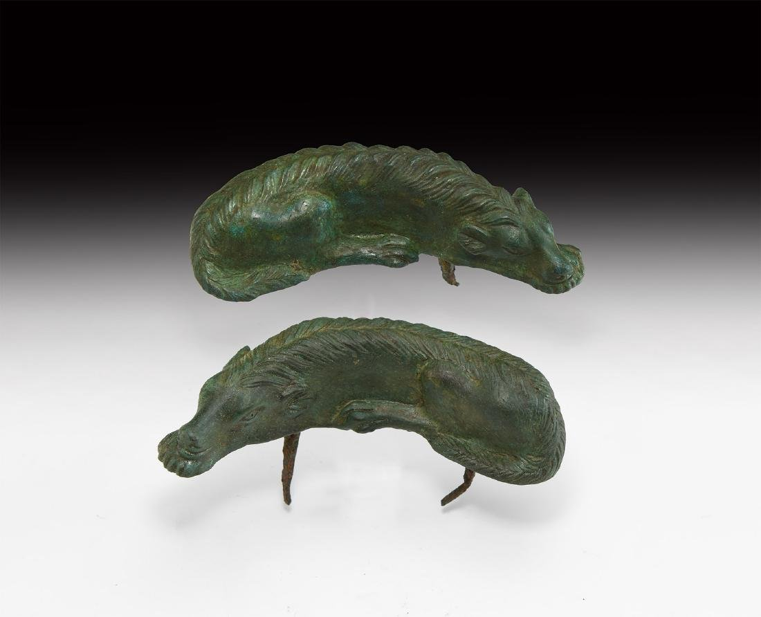 Large Roman Hunting Hound Chariot Mount Pair