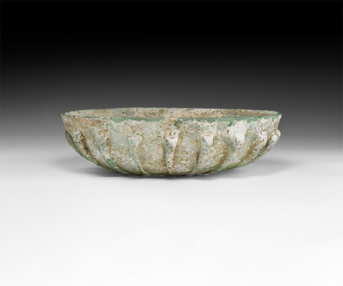 Roman Large Ribbed Green Bowl