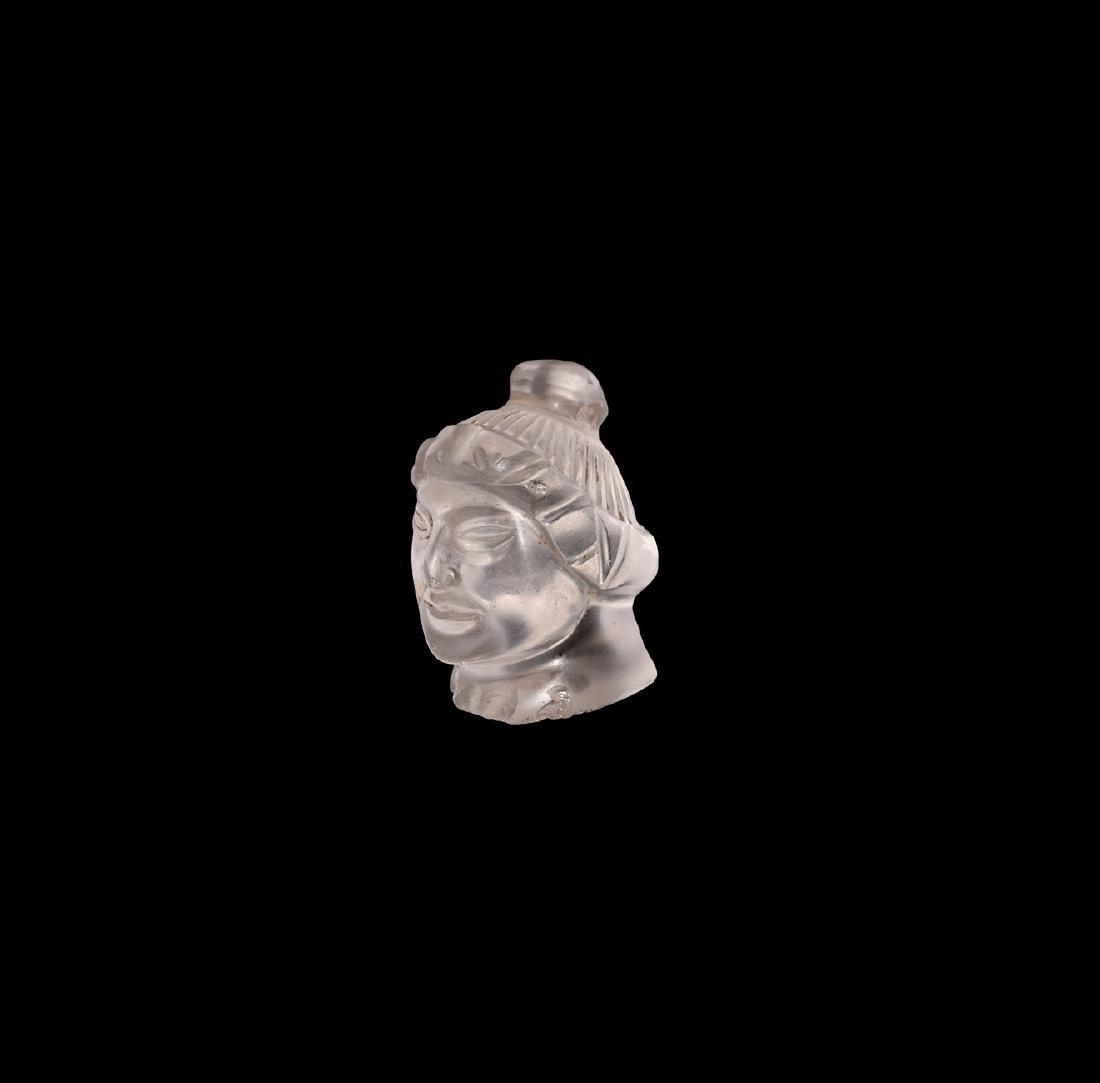 Western Asiatic Rock Crystal Head Pendant