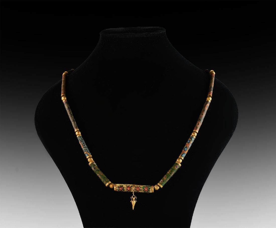 Western Asiatic Mosaic Glass and Gold Bead Necklace