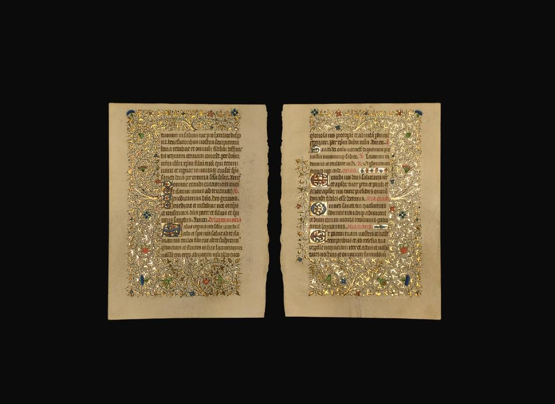 Medieval Parisian Book of Hours Manuscript Page
