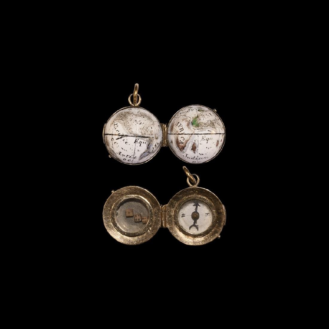Post Medieval Gold Orb Pendant with Compass and Dice