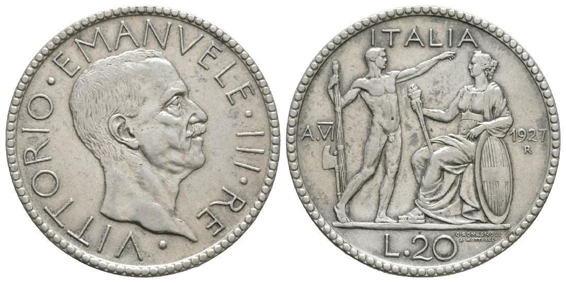 Italy - Vittorio Emanuele III - 1927R - 20 Lire