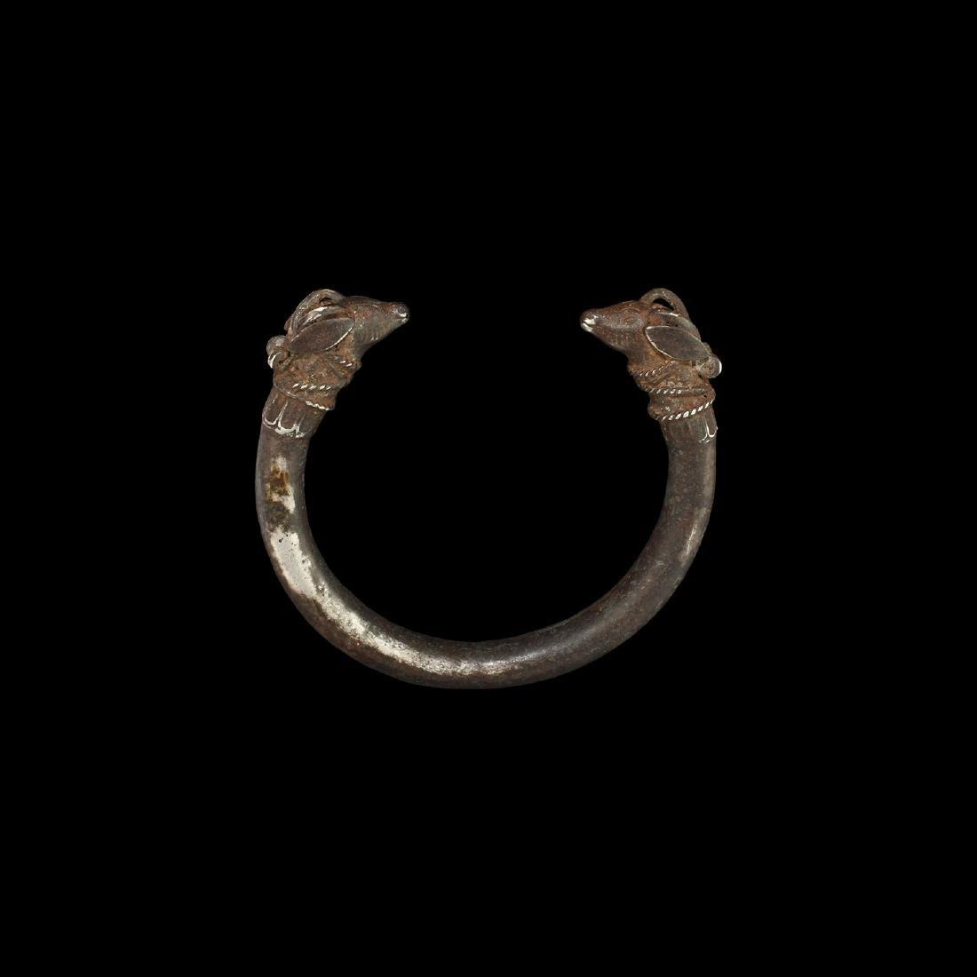 Phoenician Silver Bracelet with Antelope Heads