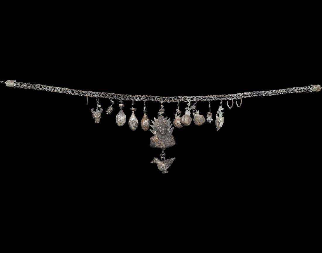 Roman Silver Necklace w/ Pendants & Sol Invictus
