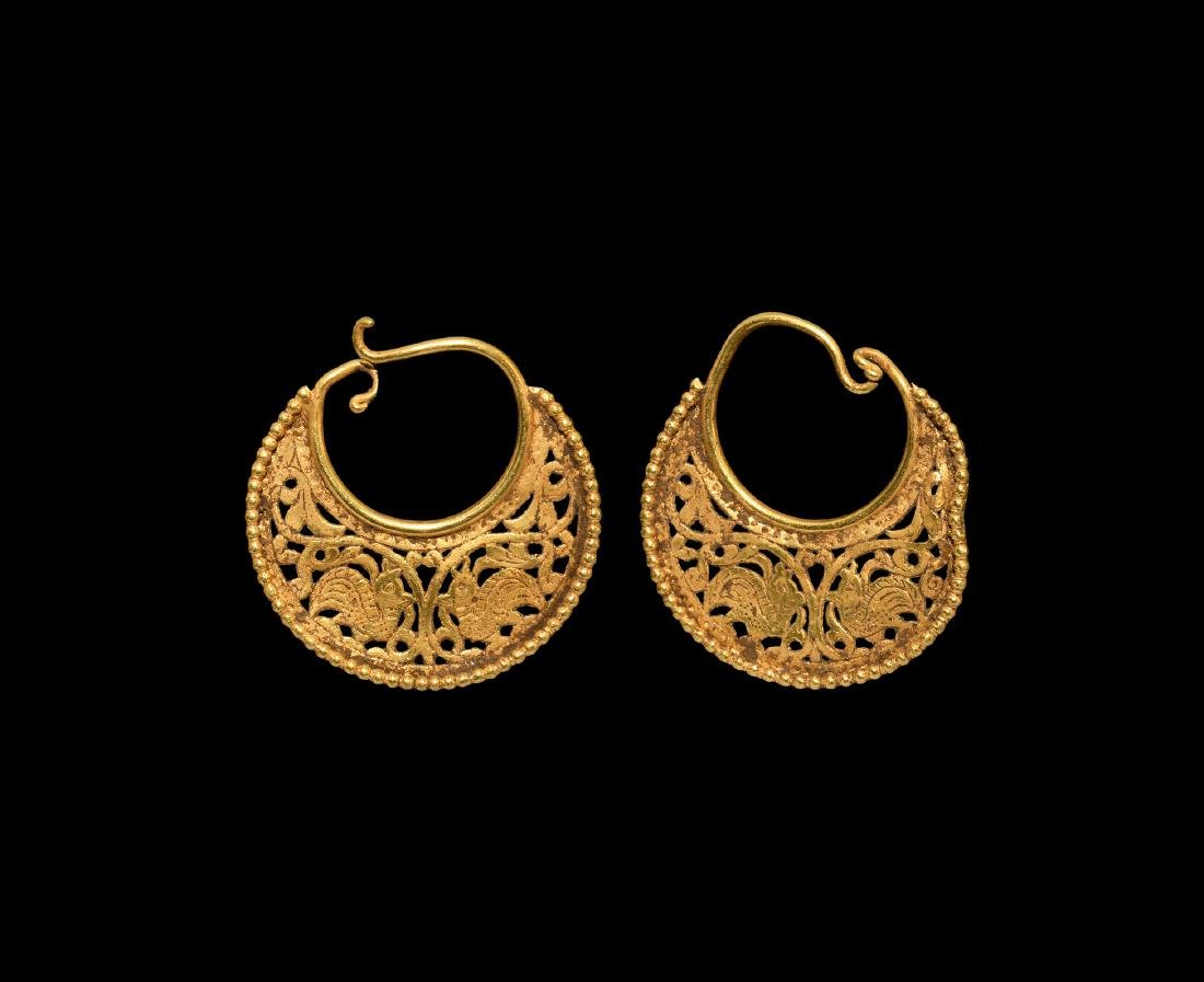 Byzantine Gold Earrings with Birds