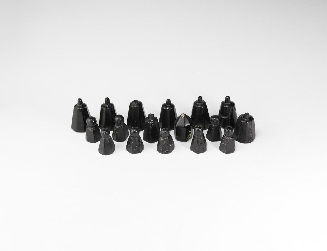 Central Asian Carved Jet Chess Piece Group