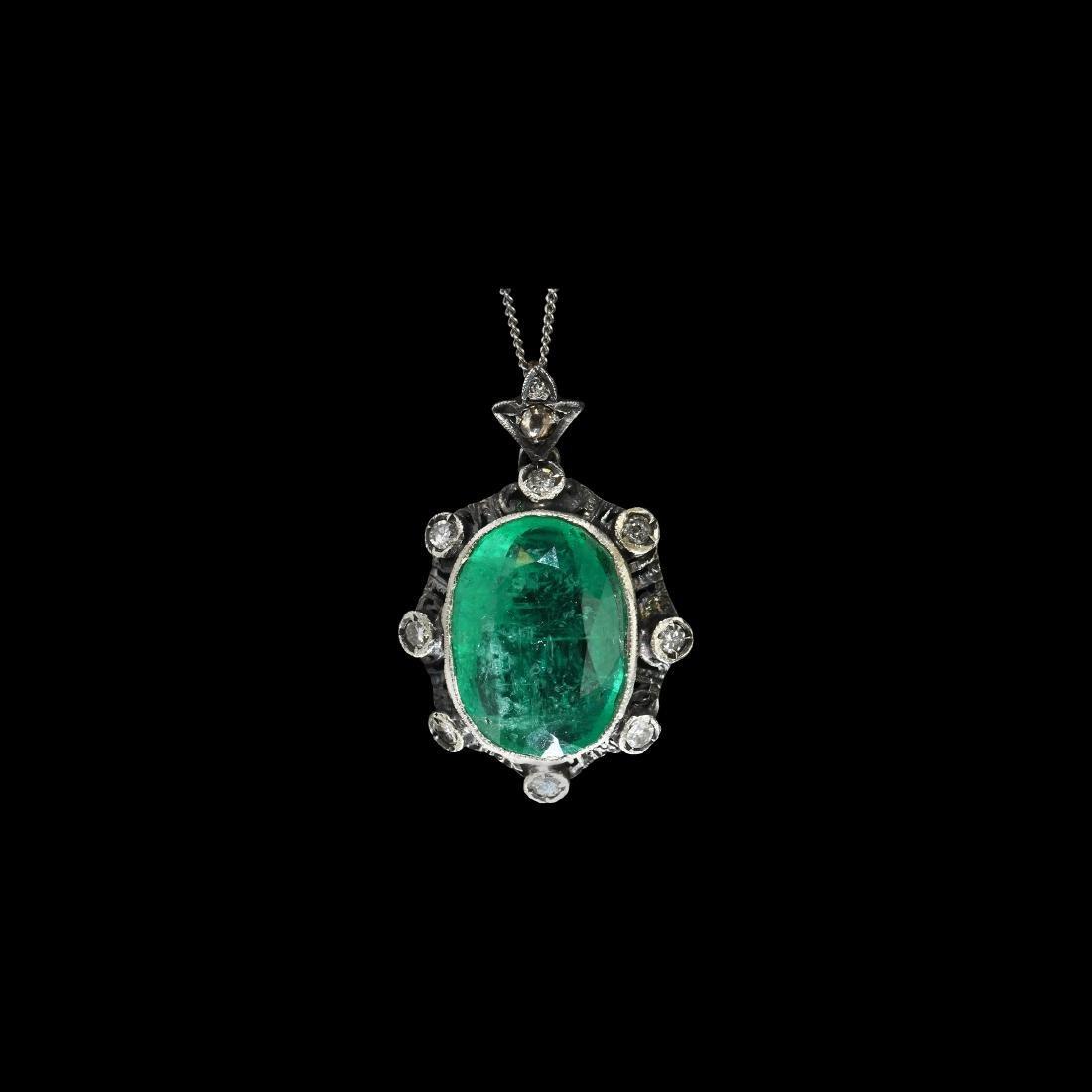Indian Carved Emerald, Diamond Pendant Necklace