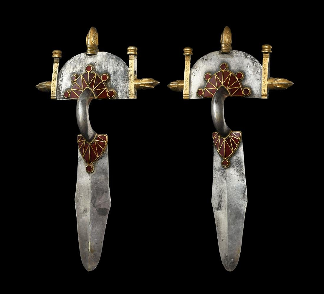 Gothic Gold Clad Silver Brooch Pair with Garnets