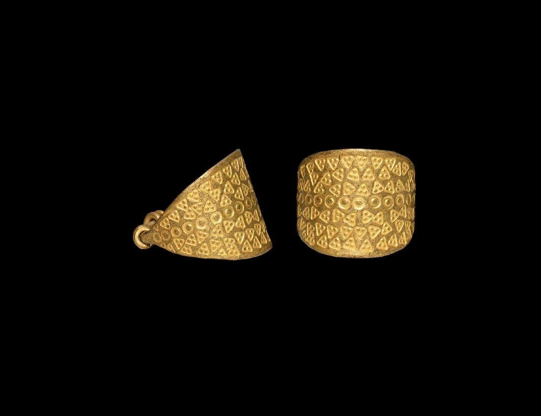 Viking Broad Gold Ring with Stamped Decoration