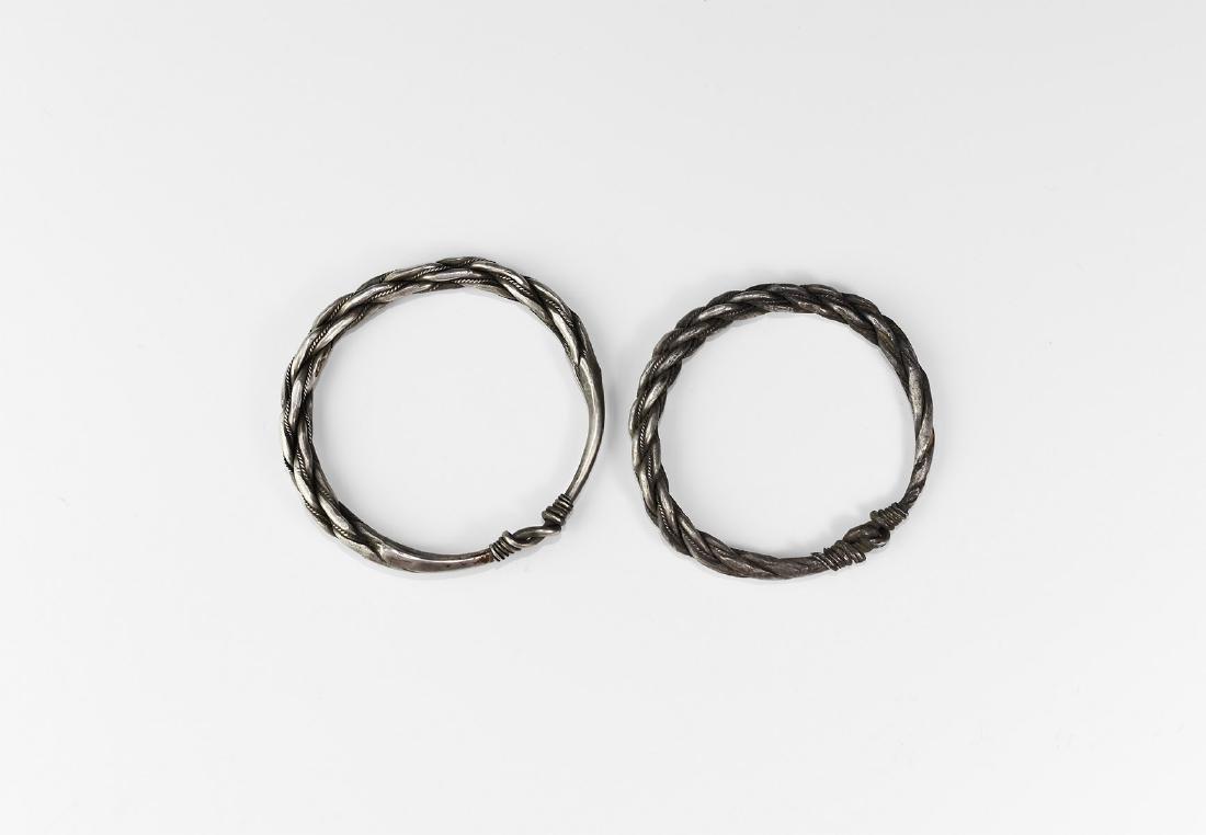 Viking Silver Plaited Bracelet Pair