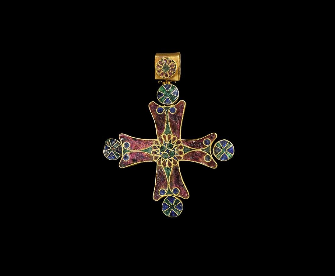 Post Medieval Enamelled Gold Cross Pendant