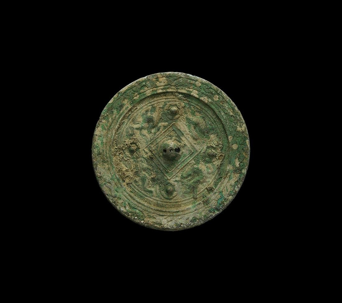 Chinese Han Mirror with Rosettes