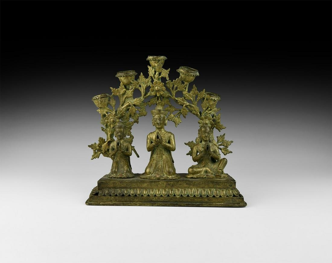 Nepalese Candelabra with Buddha and Other Figures