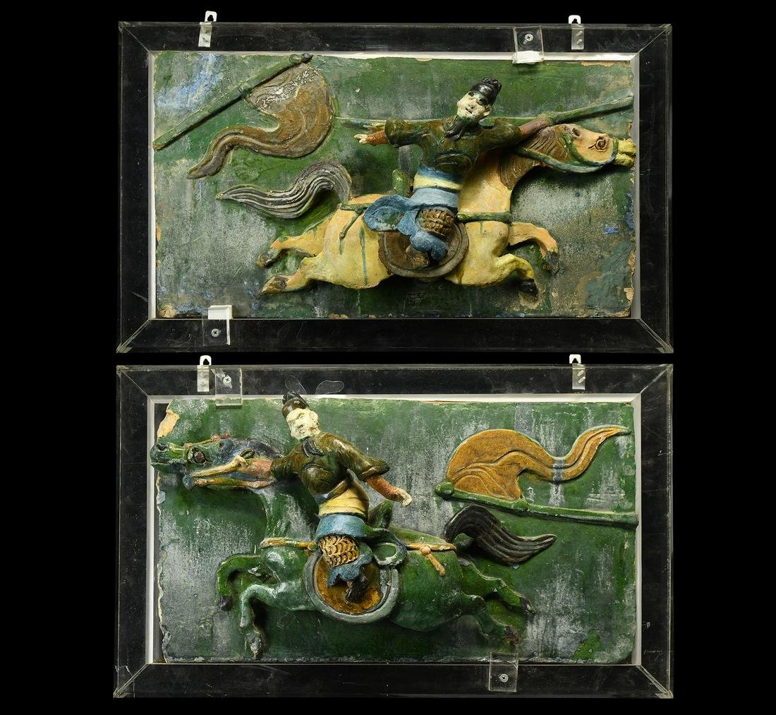 Chinese Ming Figural Tile Pair