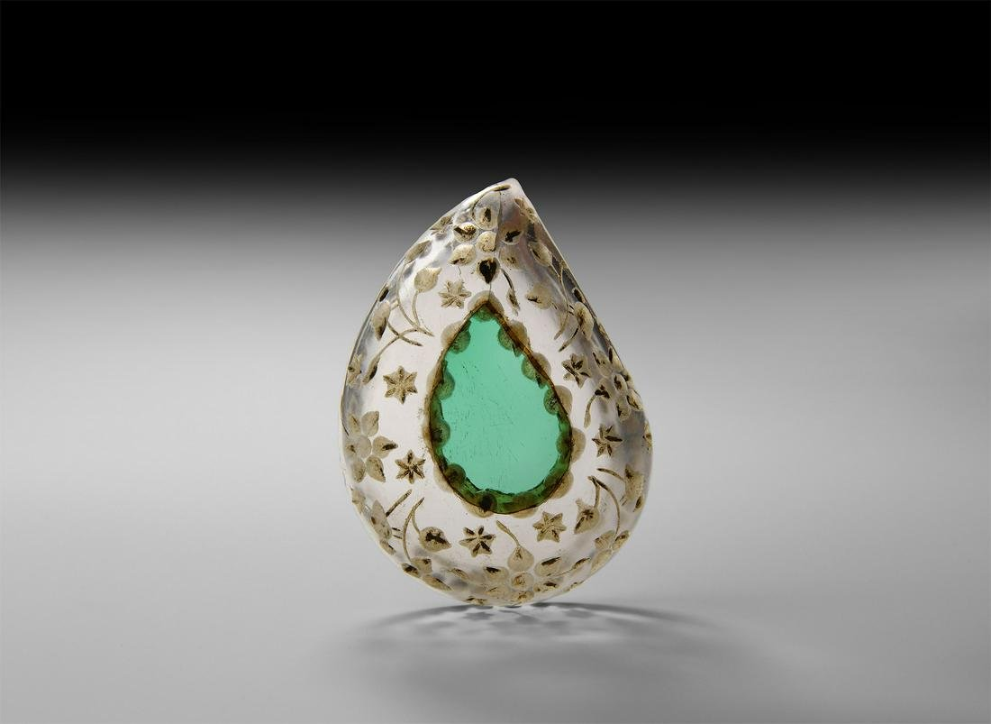 Indian Carved Teardrop Rock Crystal Bowl