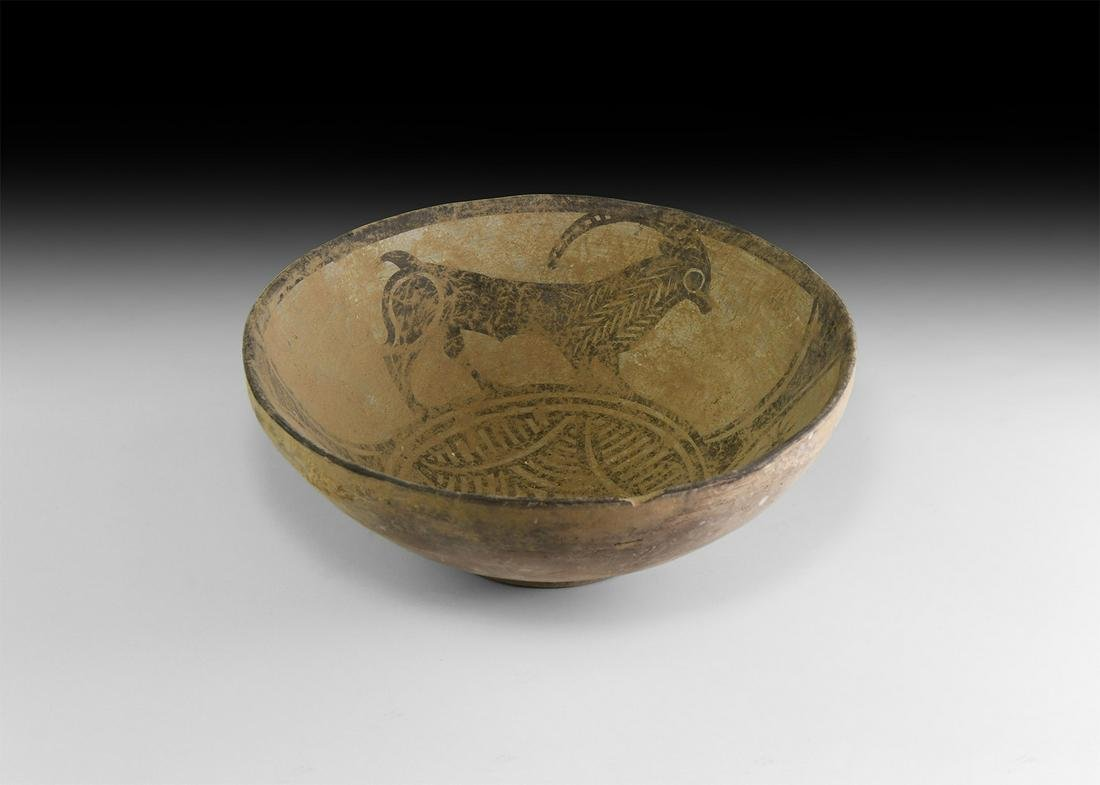 Indus Valley Mehrgarh Painted Bowl with Wolf and Ibex
