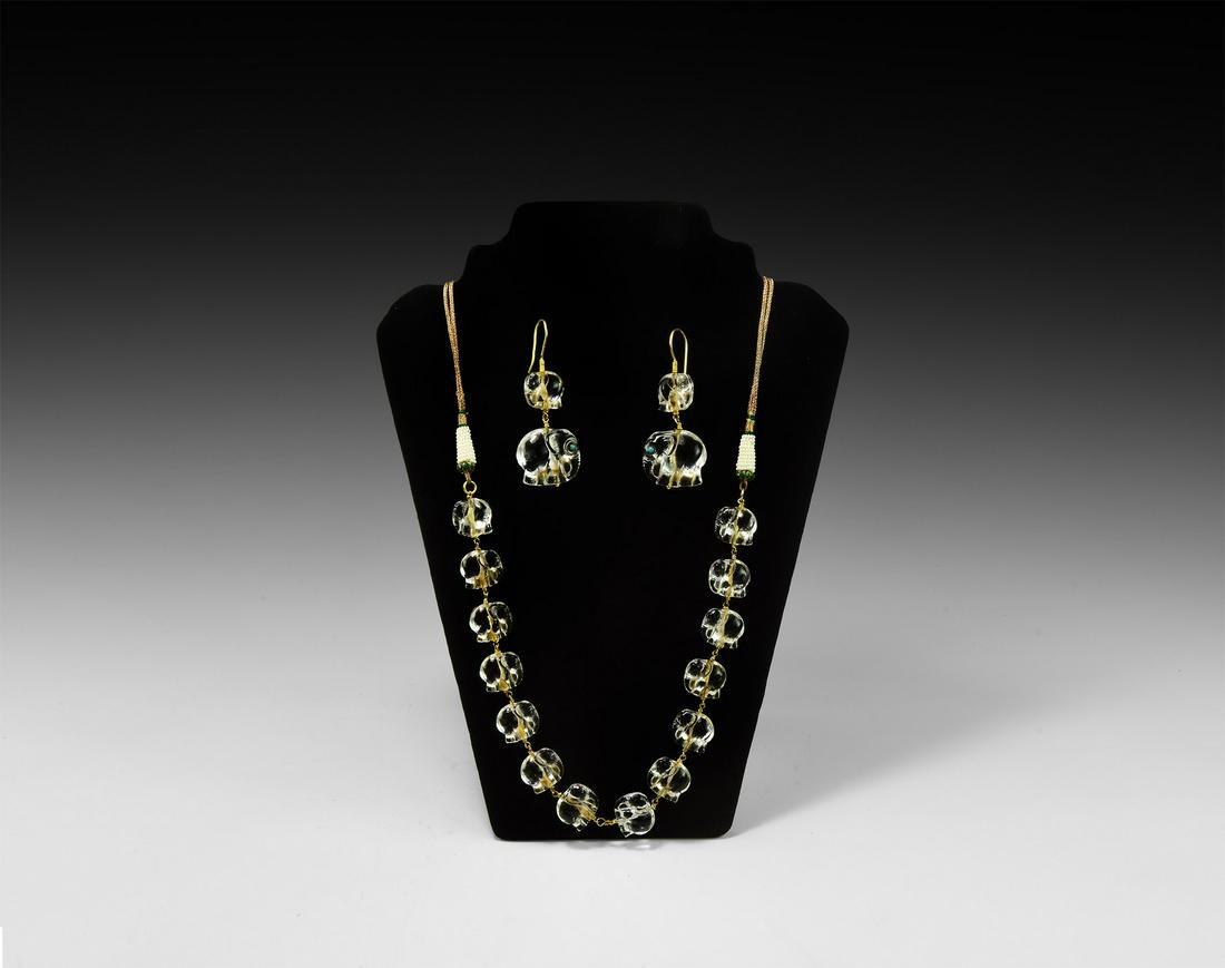 Indian Carved Crystal Elephant Bead Necklace Set