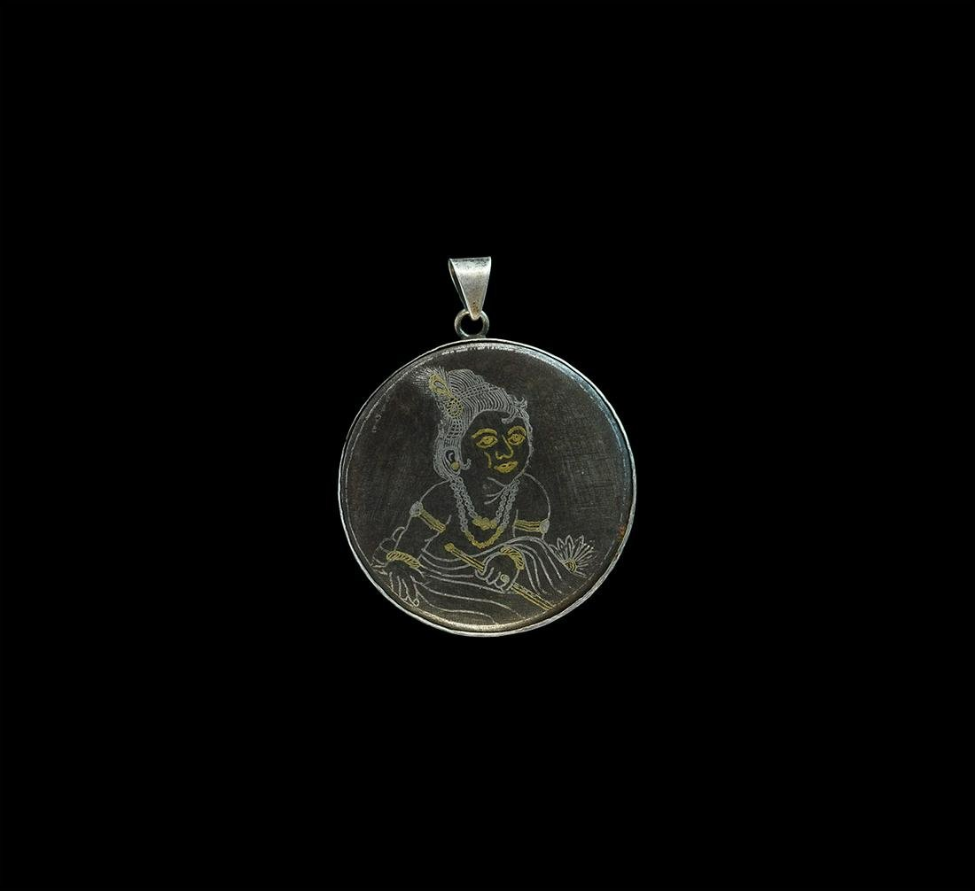 Indian Silver Pendant with Silver and Gold-Inlaid