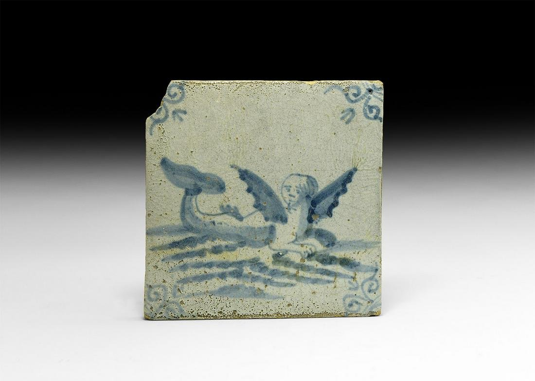 Post Medieval Dutch Tile with Melusine