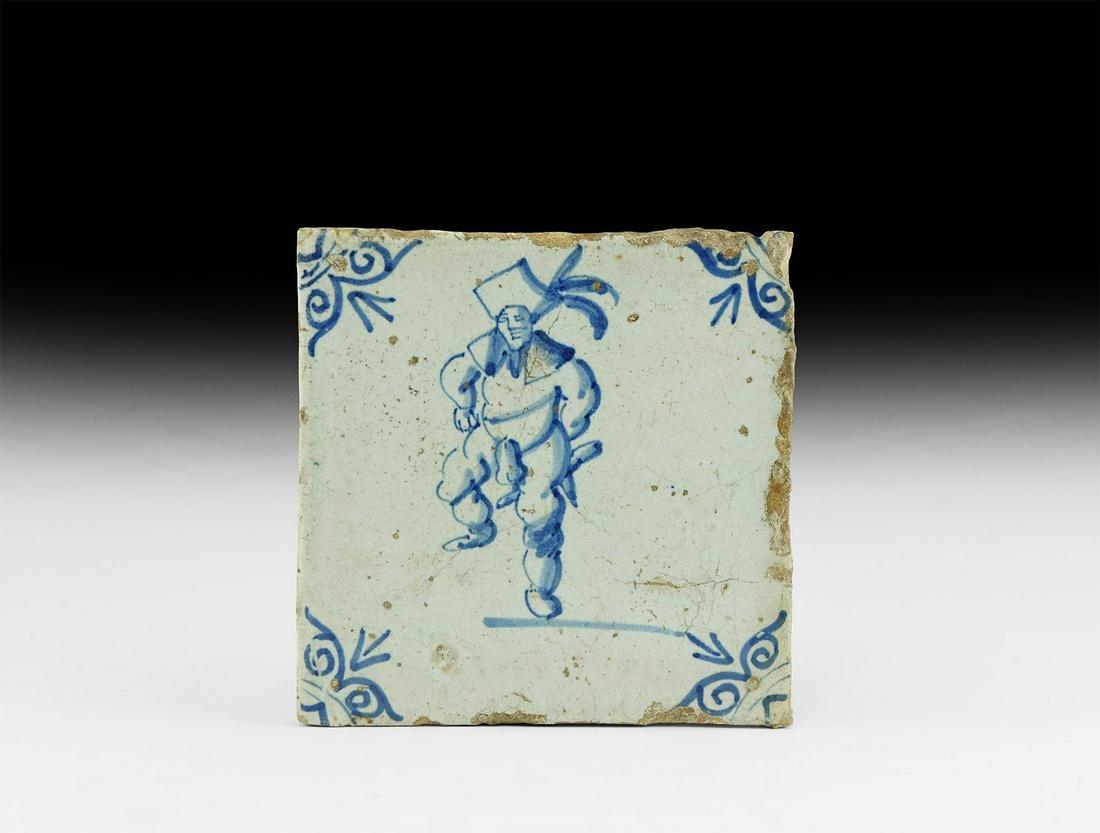 Post Medieval Dutch Tile with Dancer