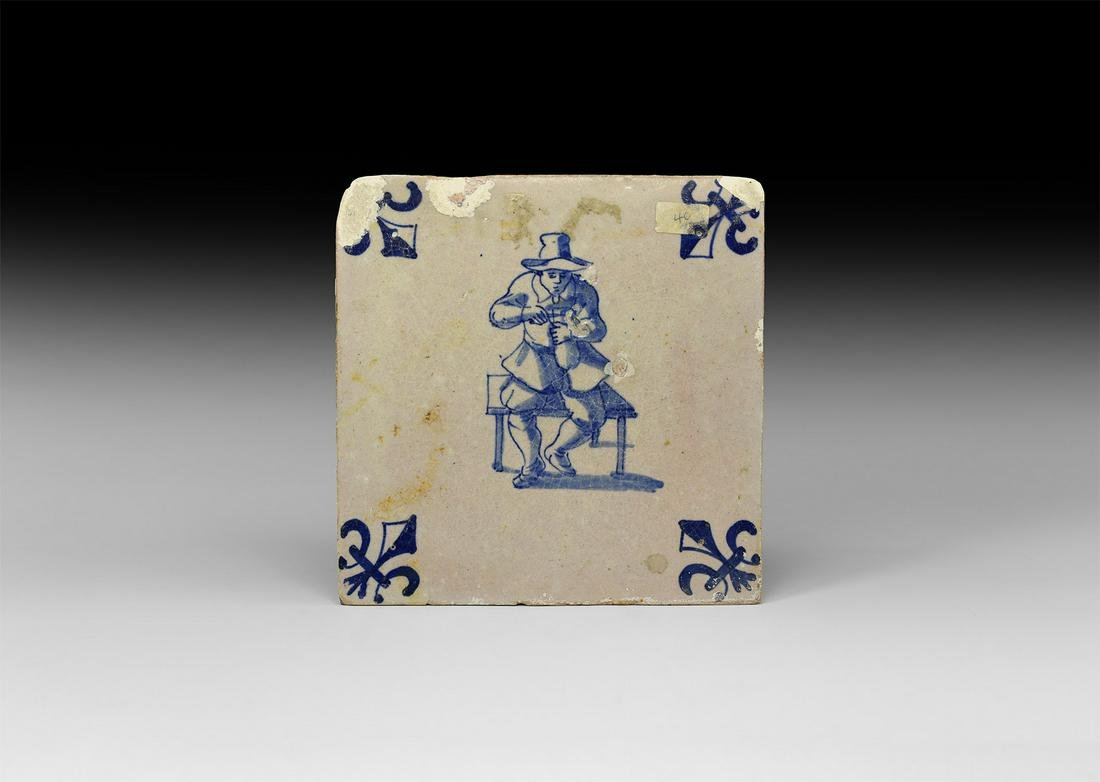 Post Medieval Dutch Tile with Potter