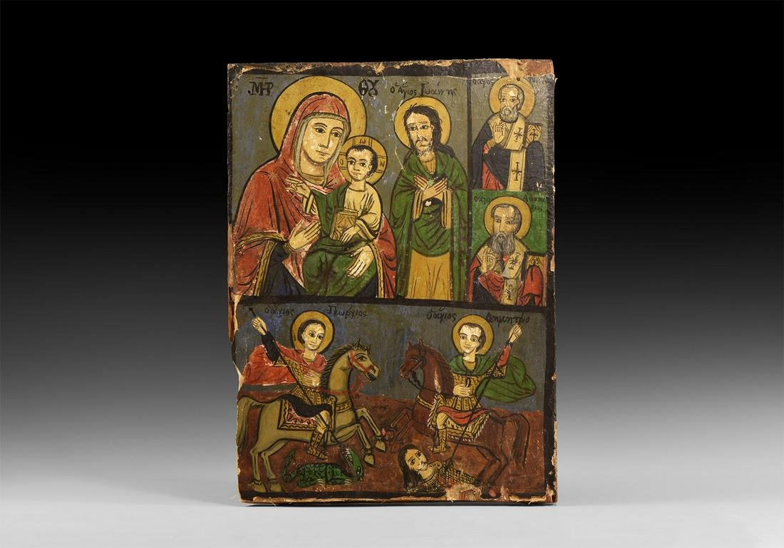 Greek Provincial Icon with Saints