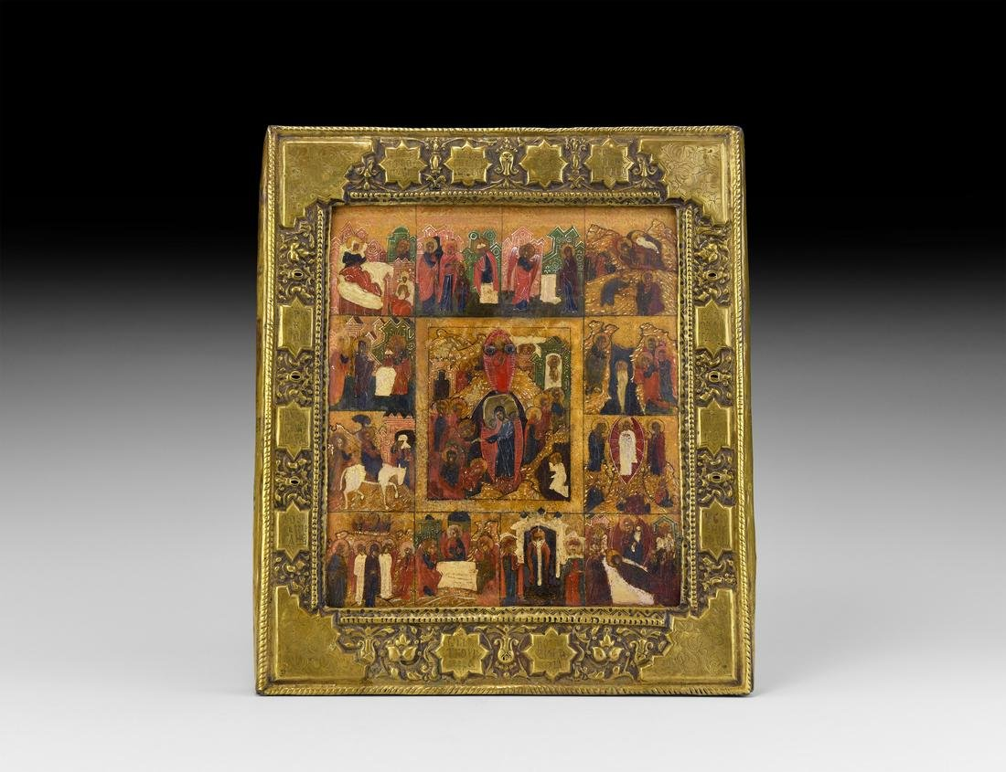 Russian Icon with Festivals of the Orthodox Calendar