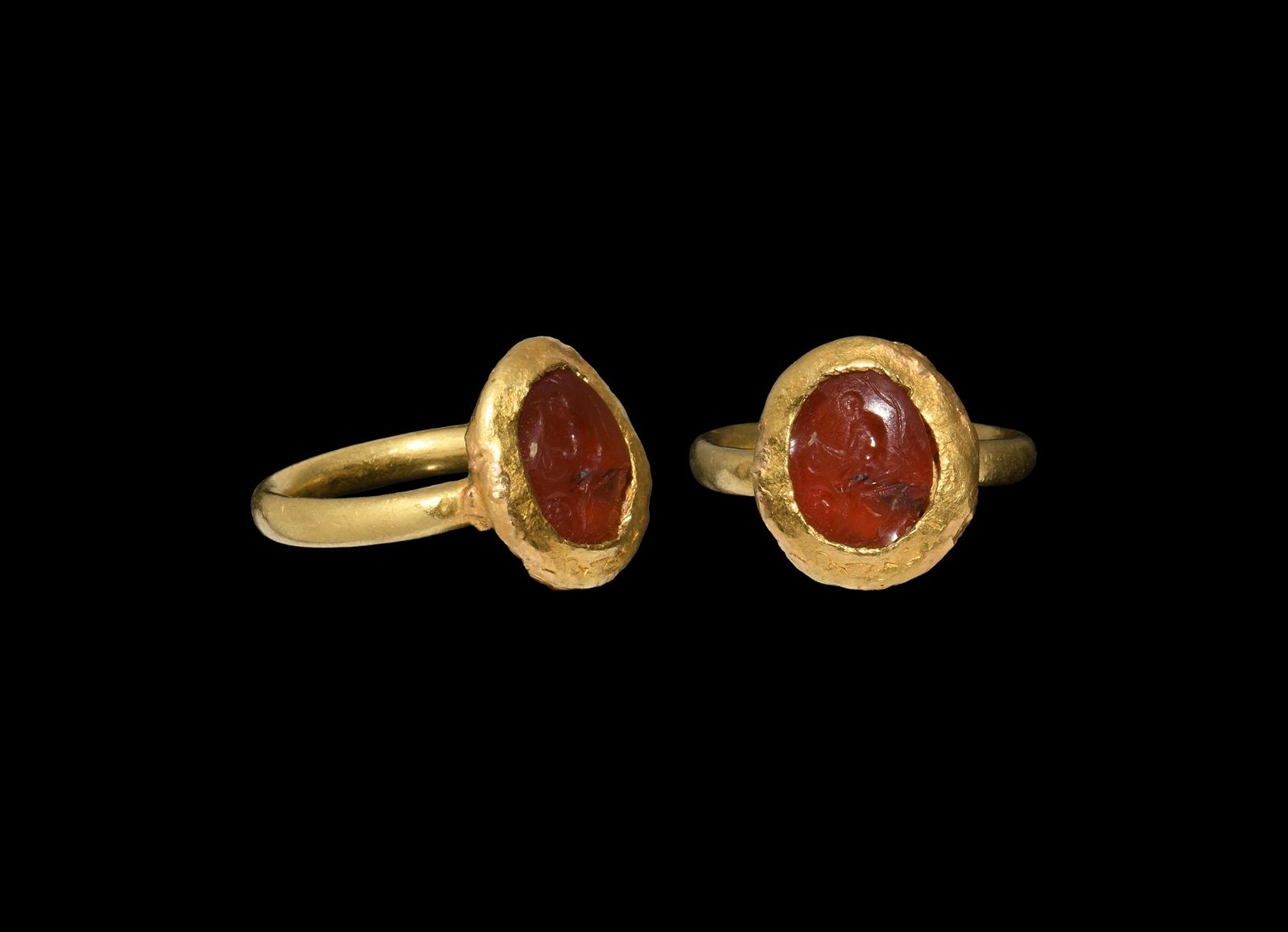 Roman Gold Ring with Seated Figure Gemstone